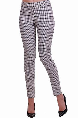 Стилен пепитен дамски  панталон 8303