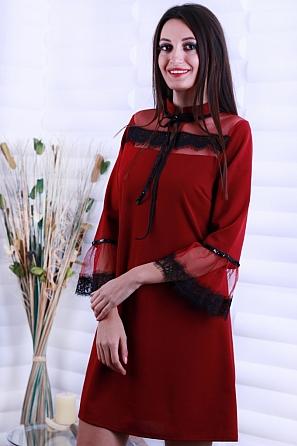 Дамска рокля с дантела и връзки с пайети в горната част 8642