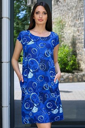 Ленена свободна дамска рокля на кръгове 9088