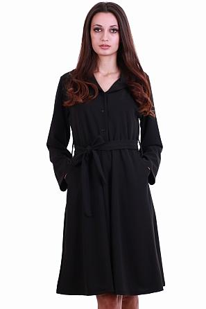 Разкроена дамска рокля с джобове и коланче 8220
