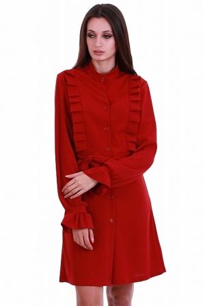 Интересна дамска рокля с волани и коланче 8225