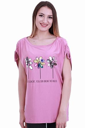 Интересна дамска блуза с щампа цветя и надпис 8414