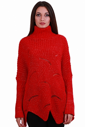 Стилен дамски свободен пуловер ламе 8250