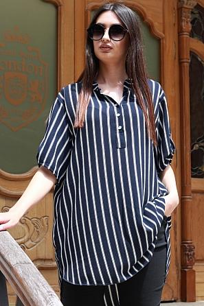 Ежедневна дамска блуза на райета с къс ръкав 87473