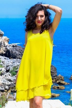 Едноцветна феерична дамска рокля/туника 8762