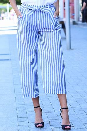 Модерен летен дамски свободен панталон на широки райета 84513