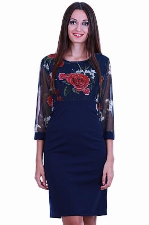Красива дамска рокля с флорална горна част 8531