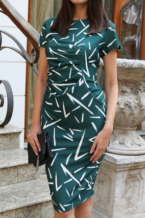 Официална рокля с набор отпред и ефектни черти 9161