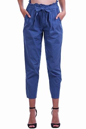 Памучен летен едноцветен дамски свободен панталон 8450