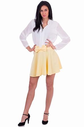 Едноцветна дамска пола с панделка