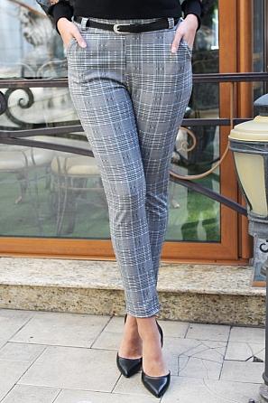 Стилен дамски панталон едро каре 88265