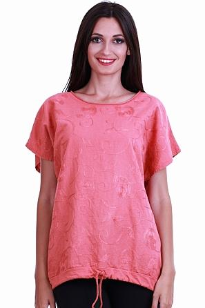Памучна дамска блуза със стилни шевици и къс ръкав 8424