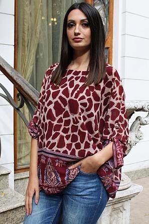 Ефектна дамска блуза на шарки 9191