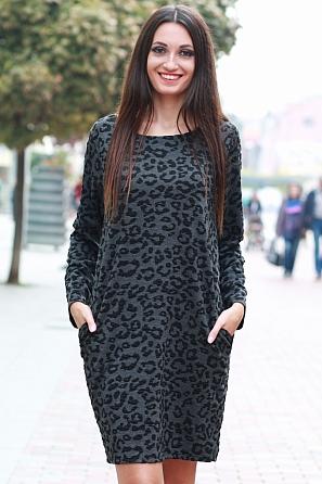 Интересна дамска рокля с леопардова шарка 8577