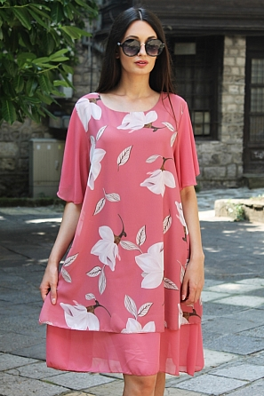 Елегантна шифонена дамска рокля на цветя с къси ръкави 8768
