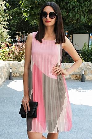 Шифонена дамска рокля солей няколко цвята 90681