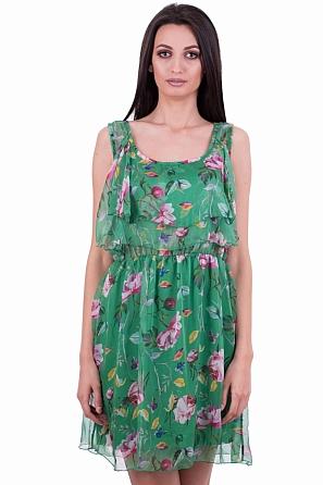 Шифонена дамска рокля с волани по деколтето 7930
