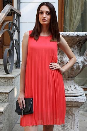 Едноцветна шифонена дамска рокля солей 9067