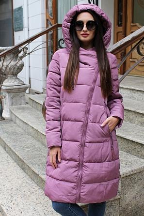 Дълго дамско яке с асиметричен цип и качулка 8828