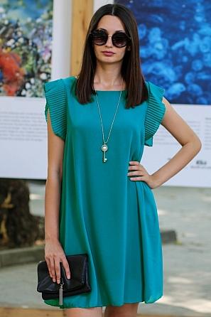 Стилна едноцветна дамска рокля с подарък аксесоар 9066