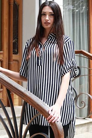 Ежедневна блуза на едри райета с къс ръкав 87472