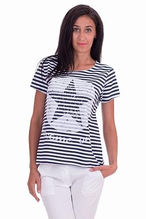 Моряшка дамска блуза на райе с звезда