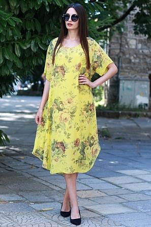 Ленена рокля с флорални мотиви и къс ръкав 8776