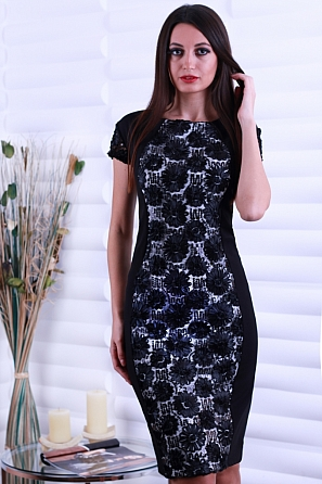 Луксозна рокля с бродерия цветя и пайети 8560