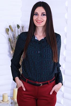 Стилна дамска риза с геометрични мотиви 8745