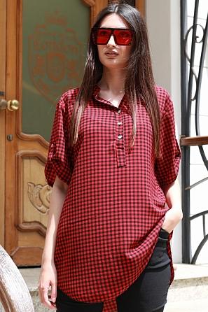 Ежедневна дамска блуза на дребно каре с къс ръкав 87491