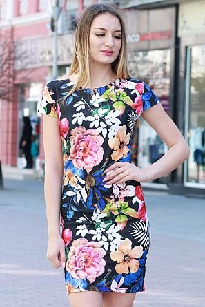 Елегантна дамска рокля с цветни мотиви и къс ръкав 8370