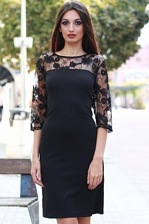 Луксозна дамска рокля с дантелени ръкави 8555