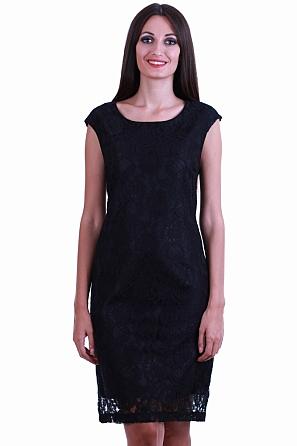 Елегантна дантелена дамска рокля без ръкави 8534