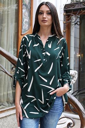 Стилна дамска блуза на черти с издължена задна част 9131