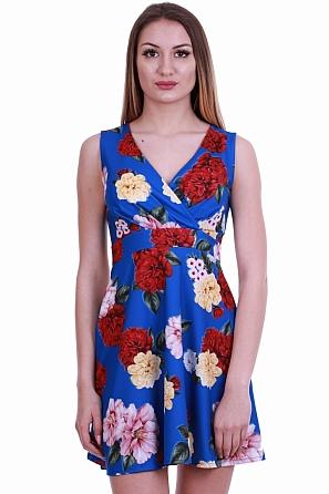 Стилна рокля с флорални мотиви и V-образно деколте 8365