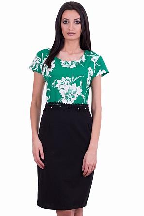 Стилна рокля с флорални мотиви и дантелен колан 7878