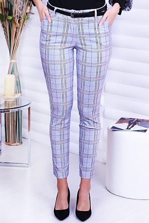 Стилен дамски панталон на карета с колан 8742