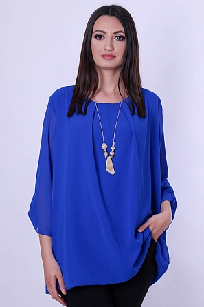 Стилна шифонена дамска блуза с подарък аксесоар 9036
