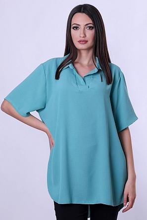 Едноцветна дамска блуза тип риза с къси ръкави 9044