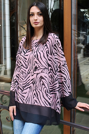 Интересна дамска двуцветна блуза с дълги ръкави 9192