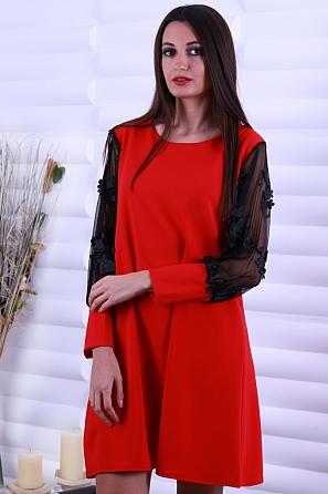 Едноцветна дамска рокля с ефектни 3D ръкави с цветчета 8655