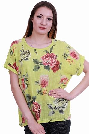 Памучна дамска блуза на рози с къс ръкав 8420