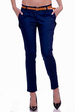 Едноцветен дамски панталон с колан