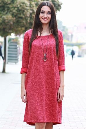 Стилна едноцветна дамска рокля с подарък аксесоар 8578