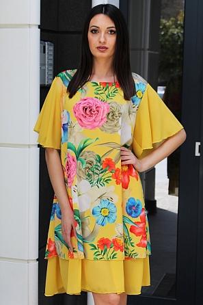 Шифонена свободна рокля на цветя с къси ръкави 9082