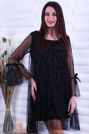 Ефектна рокля с щампа пера и ръкави с панделка 86441