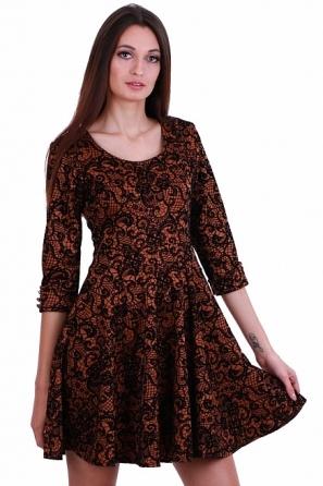Разкроена дамска рокля с дантелен флорален мотив 8240