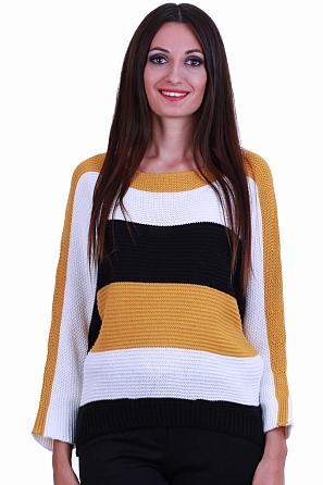 Дамски пуловер на широки райета с прилеп ръкав 8563