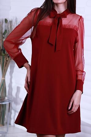 Стилна дамска рокля с дантела и панделка в горната част 8643