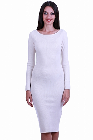 Стилна едноцветна дамска рокля фино плетиво 8510